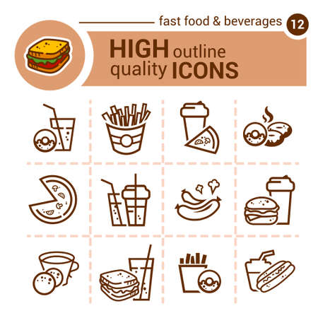 rice wine: Line icon of food and drink, vector set.