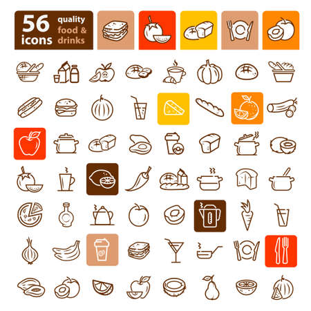 food drink: Line icon of food and drink, vector set.
