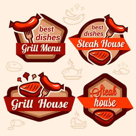 hot food: Set of vintage retro badge, label, logo design templates for hotdog, steak house, grill menu.