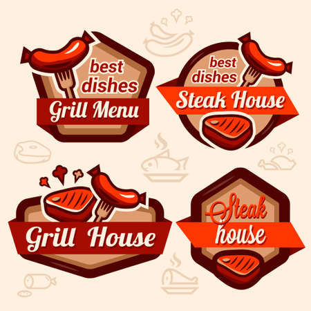 hotdog: Set of vintage retro badge, label, logo design templates for hotdog, steak house, grill menu.