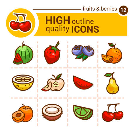 apple slice: Color flat stickers of fruits and berries, vector set.