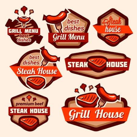 embutidos: Conjunto de placa retro vintage, etiqueta, logotipo de plantillas de diseño para la parrilla y asador. Vectores