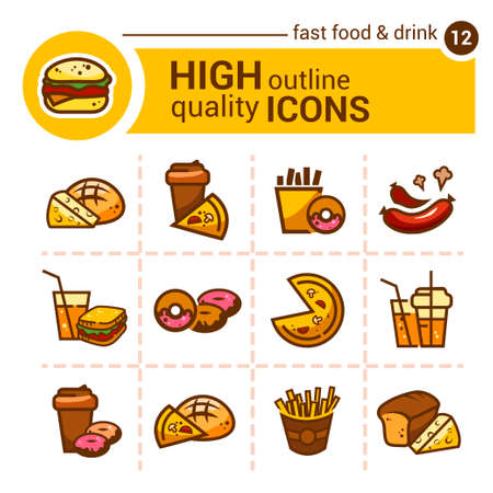 hearty: Color flat stickers and icons of fast food Illustration
