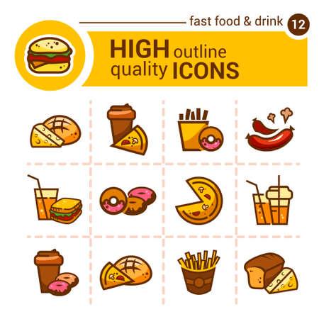 comida rápida: Pegatinas e iconos de comida r�pida planas de color Vectores