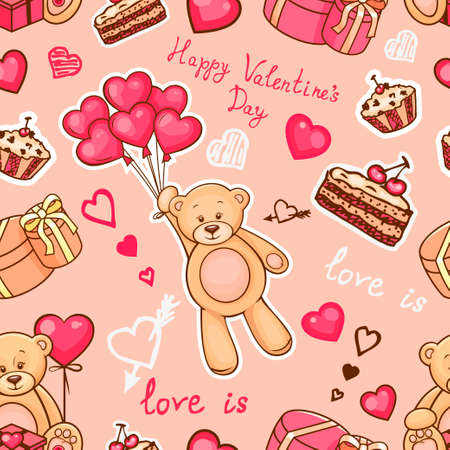 baby animals: Cute pattern with teddy bear, hearts and balloons for your design