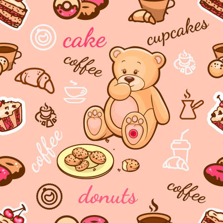 Cute seamless background with Teddy Bear, cakes, coffee and sweets, for your design.