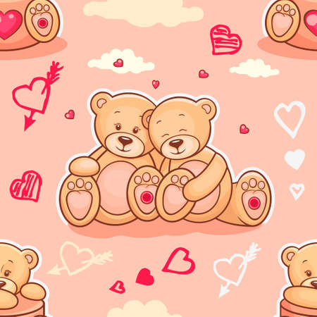 cartoon present: Cute seamless valentine background with teddy bears. Use it for childrens wallpaper, gift wrapping, prints for baby clothes, prints for bedclothes, greeting cards, Valentines Day design