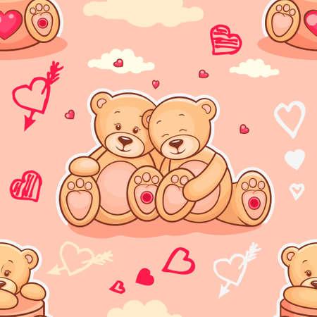 oso caricatura: Fondo lindo de San Valentín sin fisuras con los osos de peluche. Úsalo para fondos de escritorio de los niños, envoltura de regalos, impresiones de la ropa del bebé, impresiones de la ropa de cama, tarjetas de felicitación, diseño del día de San Valentín