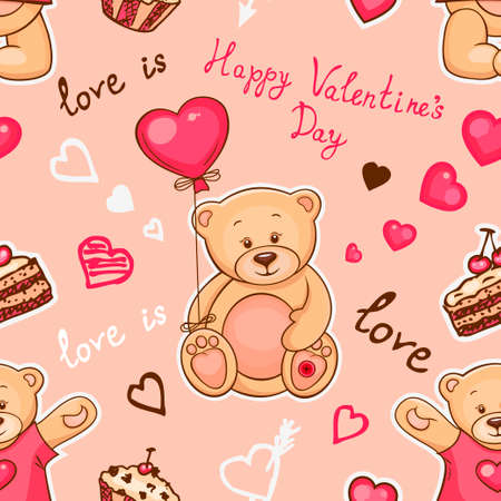 teddybear: Cute seamless valentine background with teddy bears. Use it for childrens wallpaper, gift wrapping, prints for baby clothes, prints for bedclothes, greeting cards, Valentines Day design