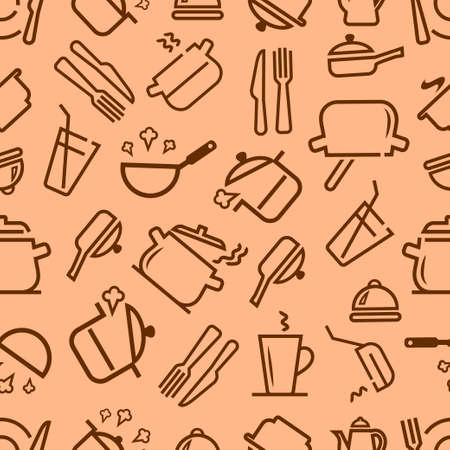 Kitchenware and cooking utensils colorful and fun doodle seamless pattern. Vector seamless background for your design.