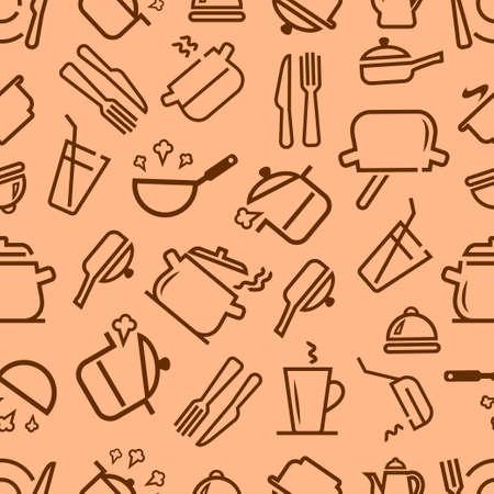 ustensiles de cuisine: Ustensiles de cuisine et ustensiles de cuisine doodle seamless pattern coloré et amusant. Vector seamless fond pour votre design. Illustration