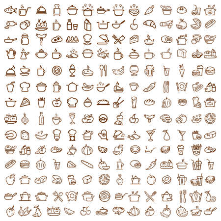 food and beverages: 200 food and drink line icons set, vectors collection. Illustration
