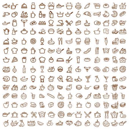 conjunto: 200 Iconos de los alimentos y de la línea de bebidas establecidos, los vectores de colección.