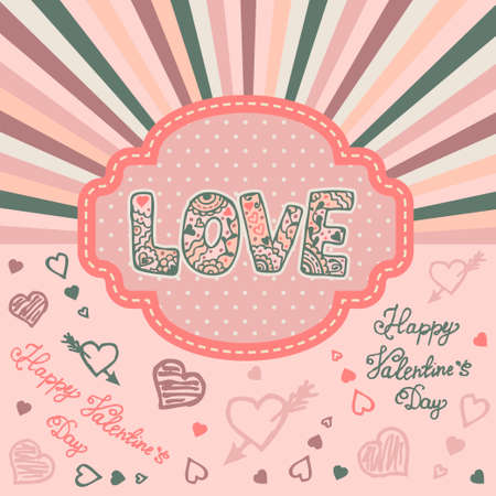 sent: Romantic background for Sent Valentines Day. Vector illustration.
