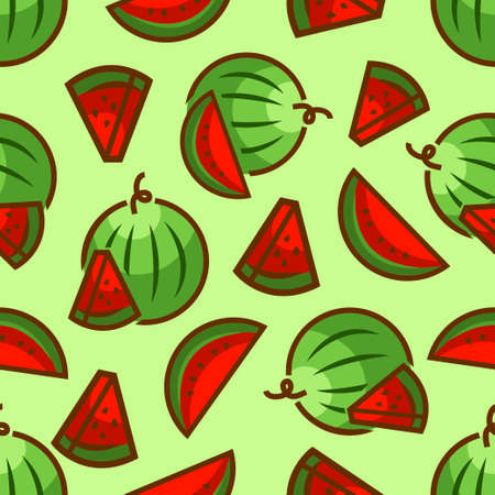 fruit cartoon: Seamless pattern with watermelons for print, card, posters, decoration, cover, textiles. Vector illustration. Illustration