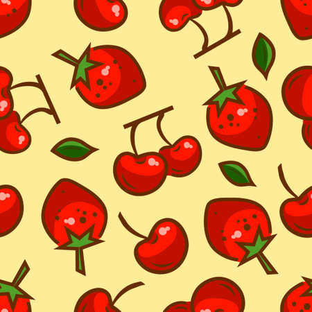 Seamless fruit background - vector pattern with berries. Vector illustration. Funny fruit. Cute Seamless Pattern.