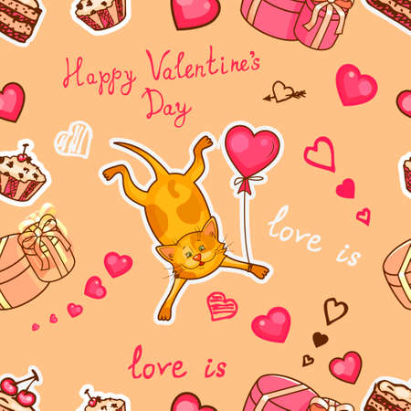 bedclothes: Seamless valentine background with cute cat. Use it for childrens wallpaper, gift wrapping, prints for baby clothes, prints for bedclothes, greeting cards, Valentines Day design Illustration