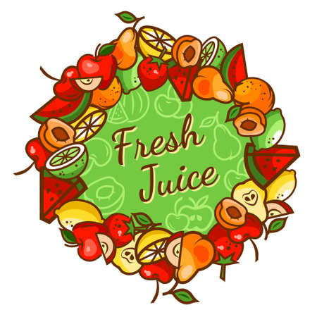 strawberry cartoon: Colorfull fresh juice emblem, vector illustration for your design.