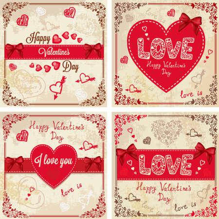 marriage invitation: Vintage Valentines Day Design. Vector Illustration set for your design.