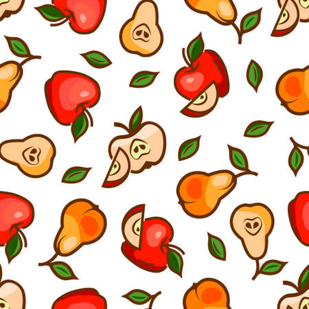 fruit cartoon: Seamless pattern with apples for your design. Vector illustration. Illustration