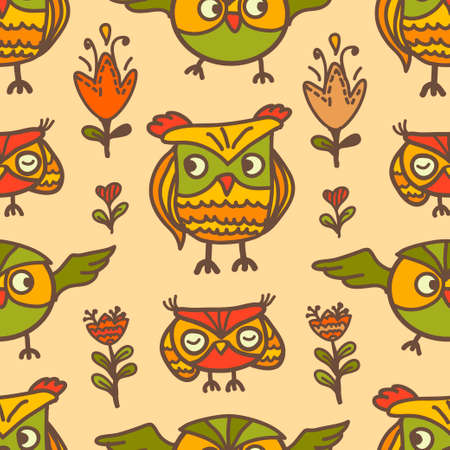 cute graphic: Color vector seamless pattern with cute owls. Dudes in the form of birds. Stylish graphic design Illustration