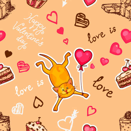 paper art: Seamless valentine background with cute cat. Use it for childrens wallpaper, gift wrapping, prints for baby clothes, prints for bedclothes, greeting cards, Valentines Day design Illustration