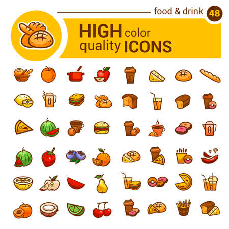 coffee icon: Big set of food icons and stickers designed for mobile applications and websites.