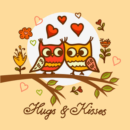 kisses: Seamless cute cartoon owls birds pattern background.  Valentines Day design.