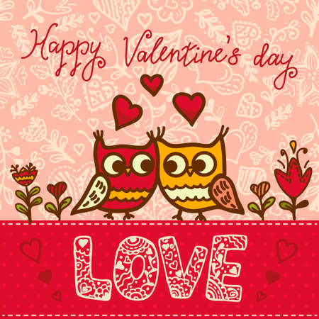 Happy valentines day: Cartoon owls birds pattern background. Valentines Day design.