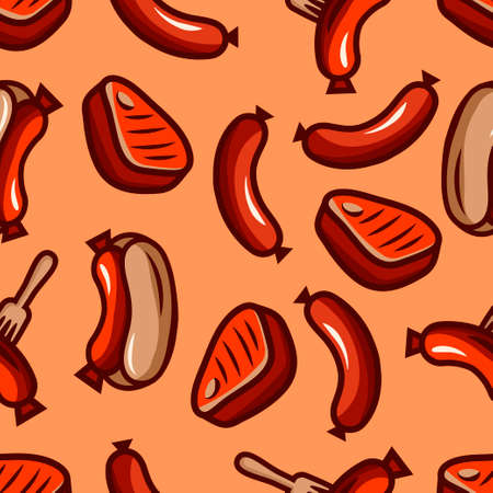 Seamless bbq pattern can be used for wallpapers, pattern fills, web page backgrounds, surface textures, restaurant menu design.