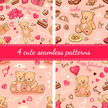 bedclothes: Set of seamless valentine backgrounds with teddy bears. Use it for childrens wallpaper, gift wrapping, prints for baby clothes, prints for bedclothes, greeting cards, Valentines Day design.
