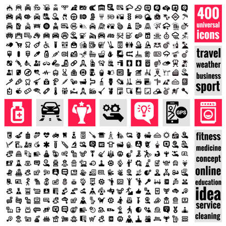 Set of 400 quality icon. Service icons , Medical icons , Media icons , Mobile icons , Travel icons ,Web icons , Cars icons. Vector Universal Icons Set.