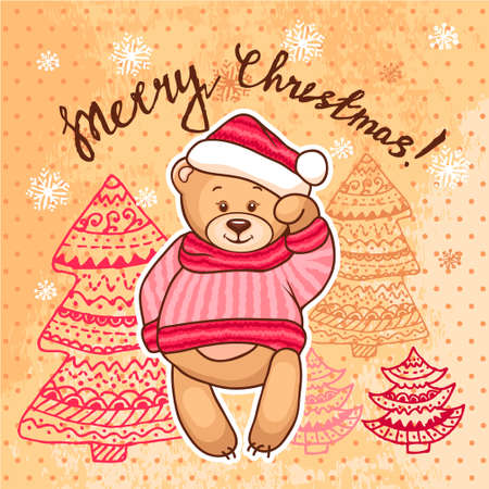 christmas cute: Cute Illustration Of Christmas Teddy Bear, for xmas design. Funny Merry Christmas background.