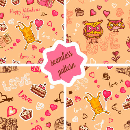 valentine: Set of seamless valentine backgrounds with cute cat and owls. Use it for childrens wallpaper, gift wrapping, prints for baby clothes, prints for bedclothes, greeting cards, Valentines Day design.