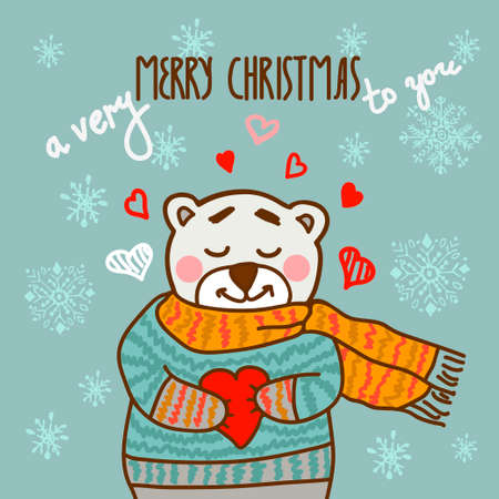 new year greeting: Cute cartoon card in vector with happy teddy bear. Christmas  design.