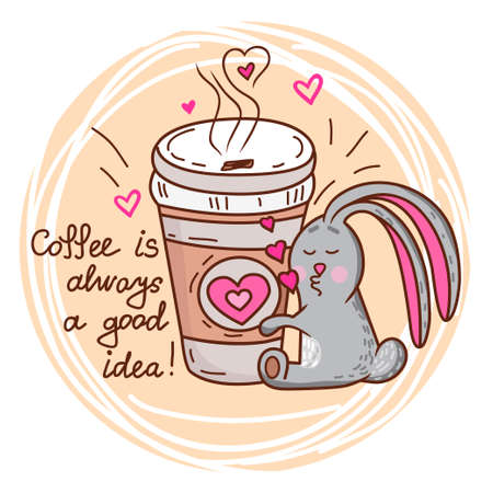 coffee to go: Cute cartoon hand drawn bunny loves coffee. Adorable vector clip art for your design
