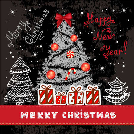 Vector Vintage Christmas Card for Holiday Design. Chalkboard Style. 일러스트