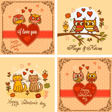 cute cards: Vector set of seamless valentine greeting cards with cute cats and owls. Valentines Day design.