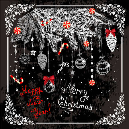 Vector Vintage Christmas Card for Holiday Design. Chalkboard Style. Illustration