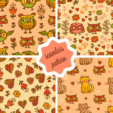 bedclothes: Set of seamless valentine backgrounds with cute cat and owls. Use it for childrens wallpaper, gift wrapping, prints for baby clothes, prints for bedclothes, greeting cards, Valentines Day design.