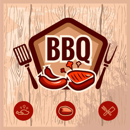Fast food and BBQ Grill elements, Typographical Design Label or Sticer. Design Template. Vector illustration.