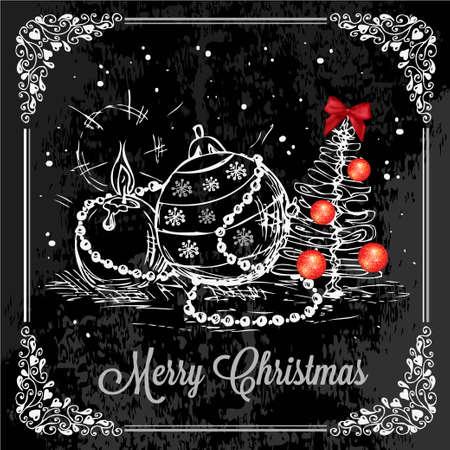 chalk board: Vector Vintage Christmas Card for Holiday Design. Chalkboard Style. Illustration