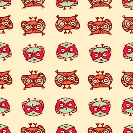 overnight: Cute seamless pattern with little cartoon owls. Stylish graphic design.