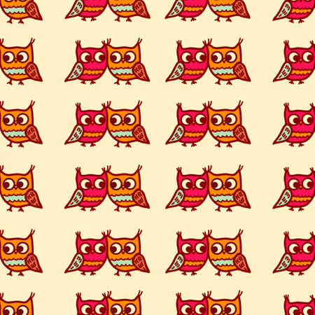 cute graphic: Cute seamless pattern with little cartoon owls. Stylish graphic design.