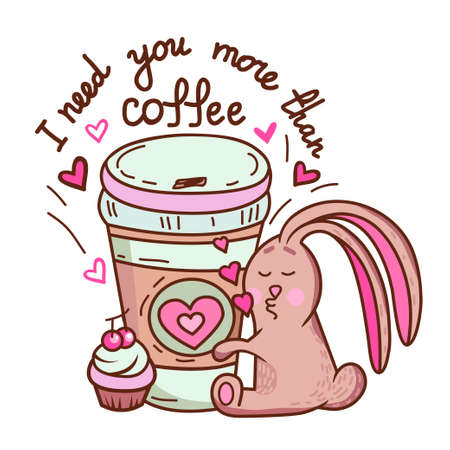 character design: Cute cartoon hand drawn bunny loves coffee. Adorable vector clip art for your design. Isolated on wight.