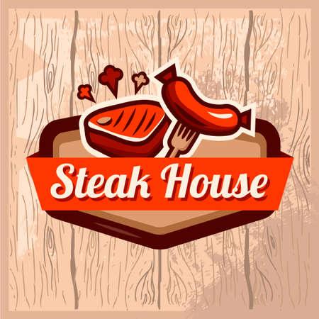 charcutería: templat retro de la vendimia de casa de la carne en el fondo de madera. Para su diseño. Tipográfico diseño de etiquetas o Sticer. Plantilla de diseño. Ilustración del vector. Vectores