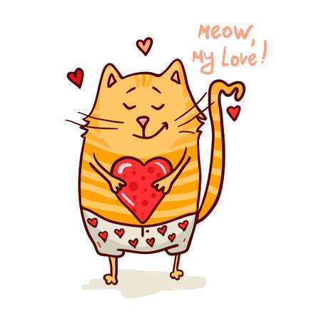 cute love: Cute cat in love romantic vector illustration.