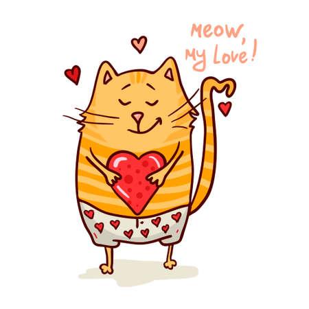 Cute cat in love romantic vector illustration.