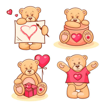 stuffed: Beautiful cartoon collection of cute valentine Teddy Bears.