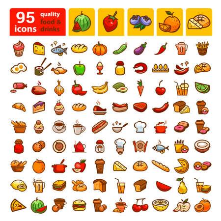 Big ensemble d'icônes et autocollants alimentaires. Couleur des éléments de conception.